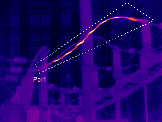 Thermal Image of an Electrical Cable Break