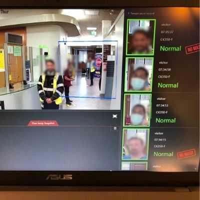 Example image showing face mask detection alarm system from SATIR